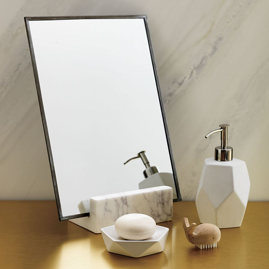 Shaving mirror with a marble base from CB2