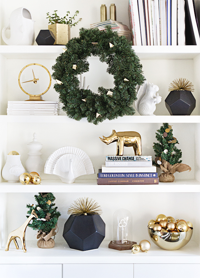 Shelving accessories with holiday trees and wreath