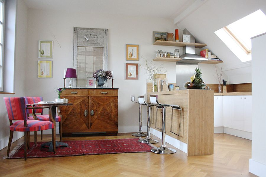Shelving in the kitchen makes use of the limited vertical space available [From: Holly Marder]