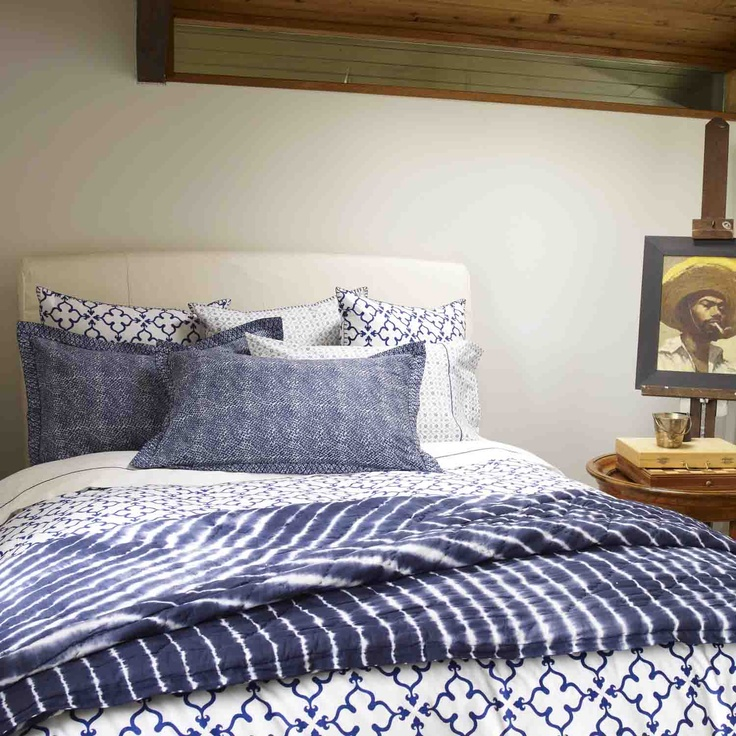 Shibori combined with other indigo patterned bedding