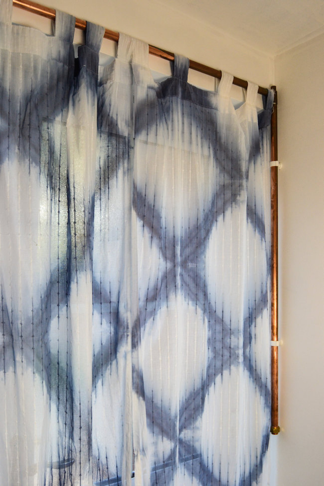 Shibori curtains with large diamond pattern
