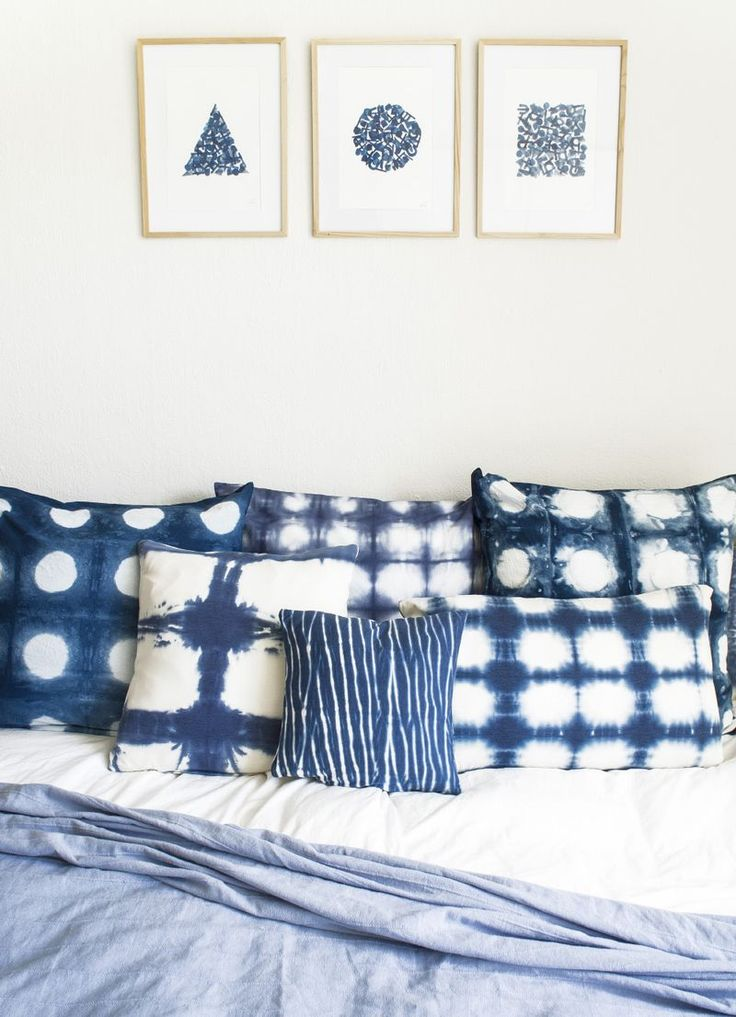 Shibori pillows with different patterns