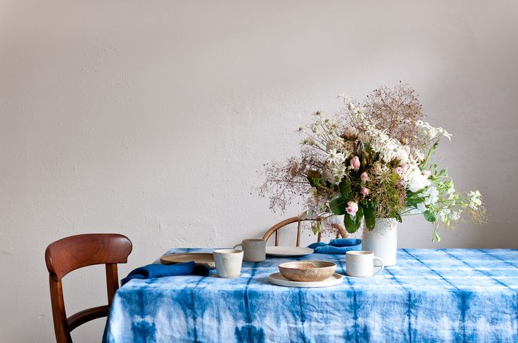 Shibori tablecloth from Bind and Fold