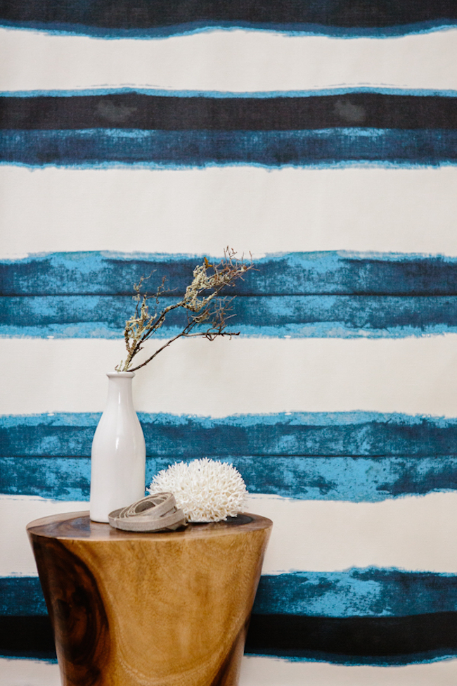 Shibori wallpaper with thick indigo lines