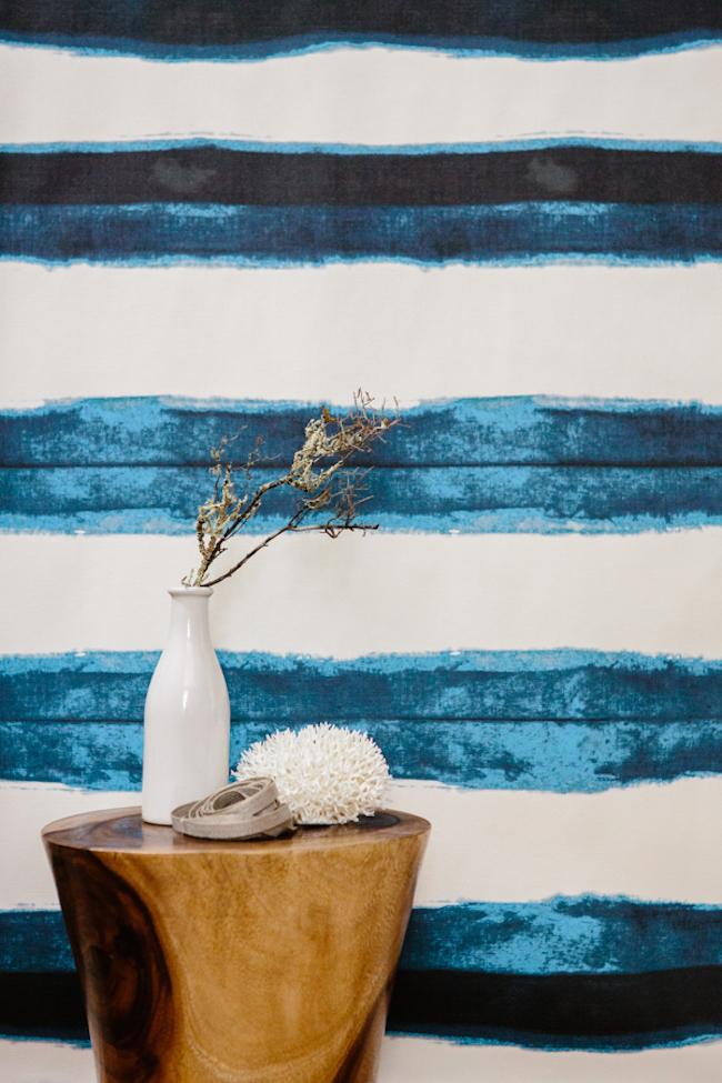 Shibori wallpaper with thick indigo lines