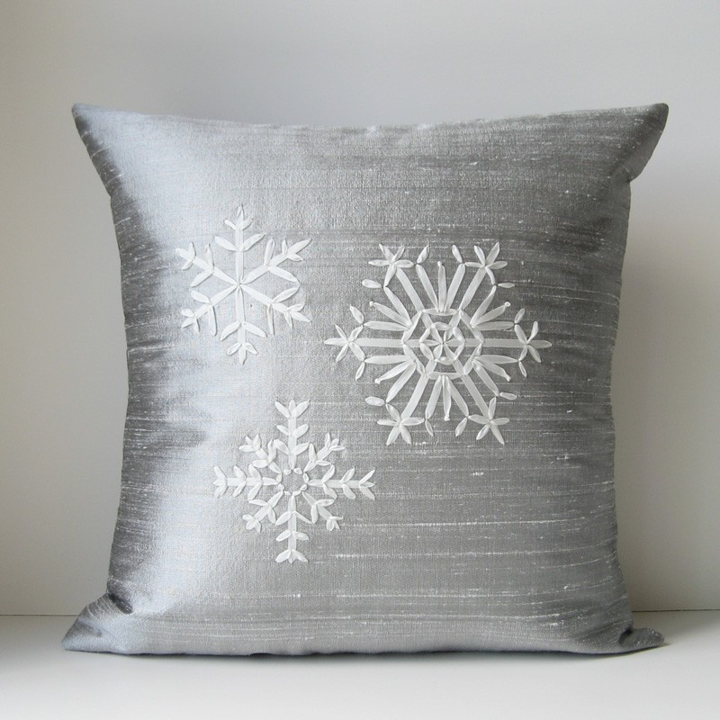 Silver snowflake pillow