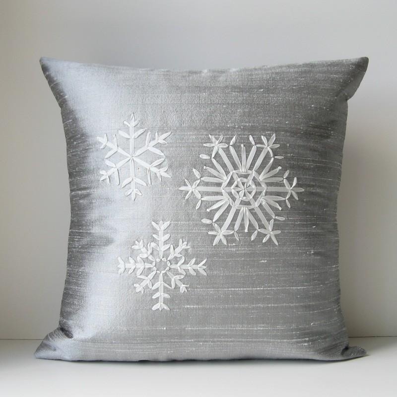 Silver snowflake pillow