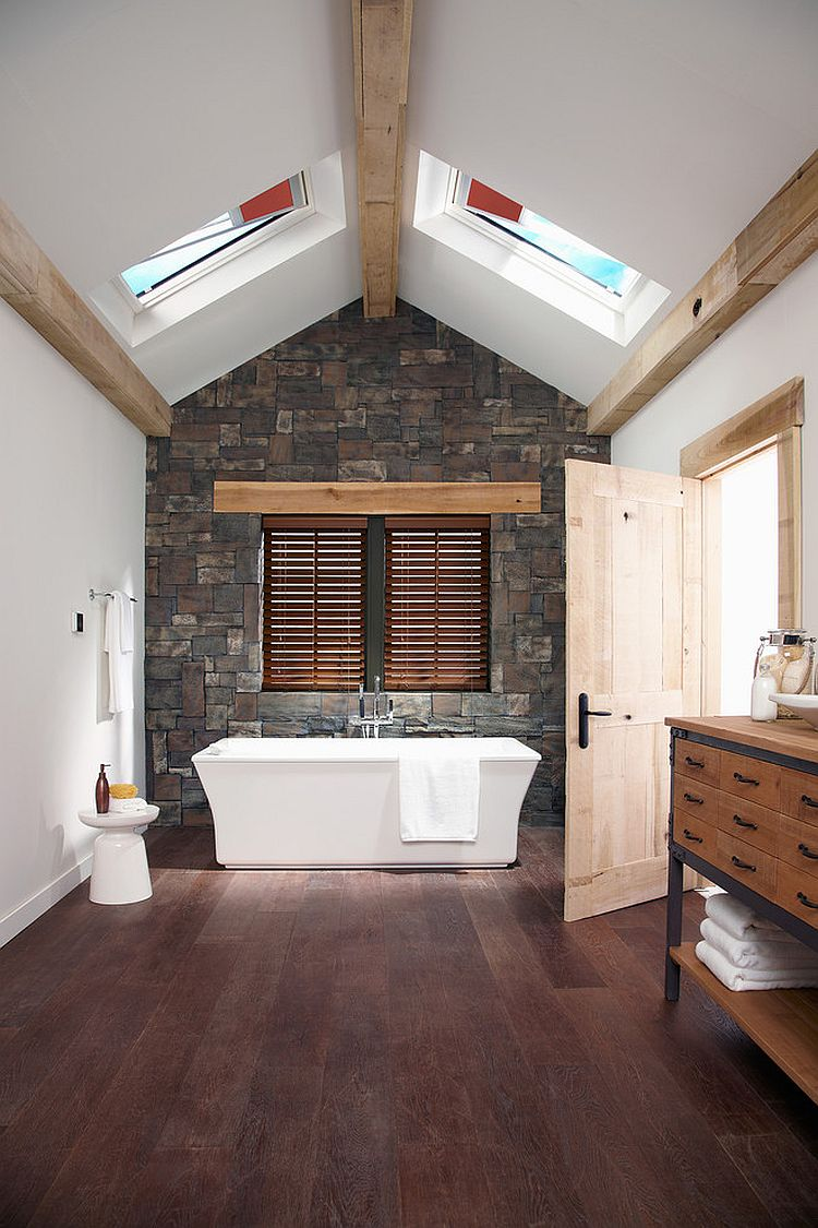 Skylights give the bathroom dramatic visual appeal
