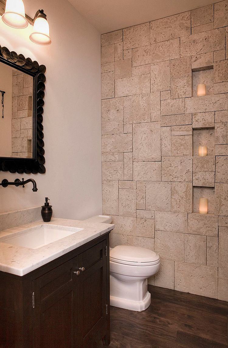 ... Small Bathroom Idea With Coral Stone Veneer On The Wall [Design: Gary J  Ahern