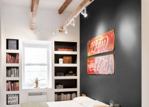 Small bedroom combines vintage, industrial and contemporary design elements effortlessly