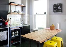 Small black and white kitchen with a pop of yellow