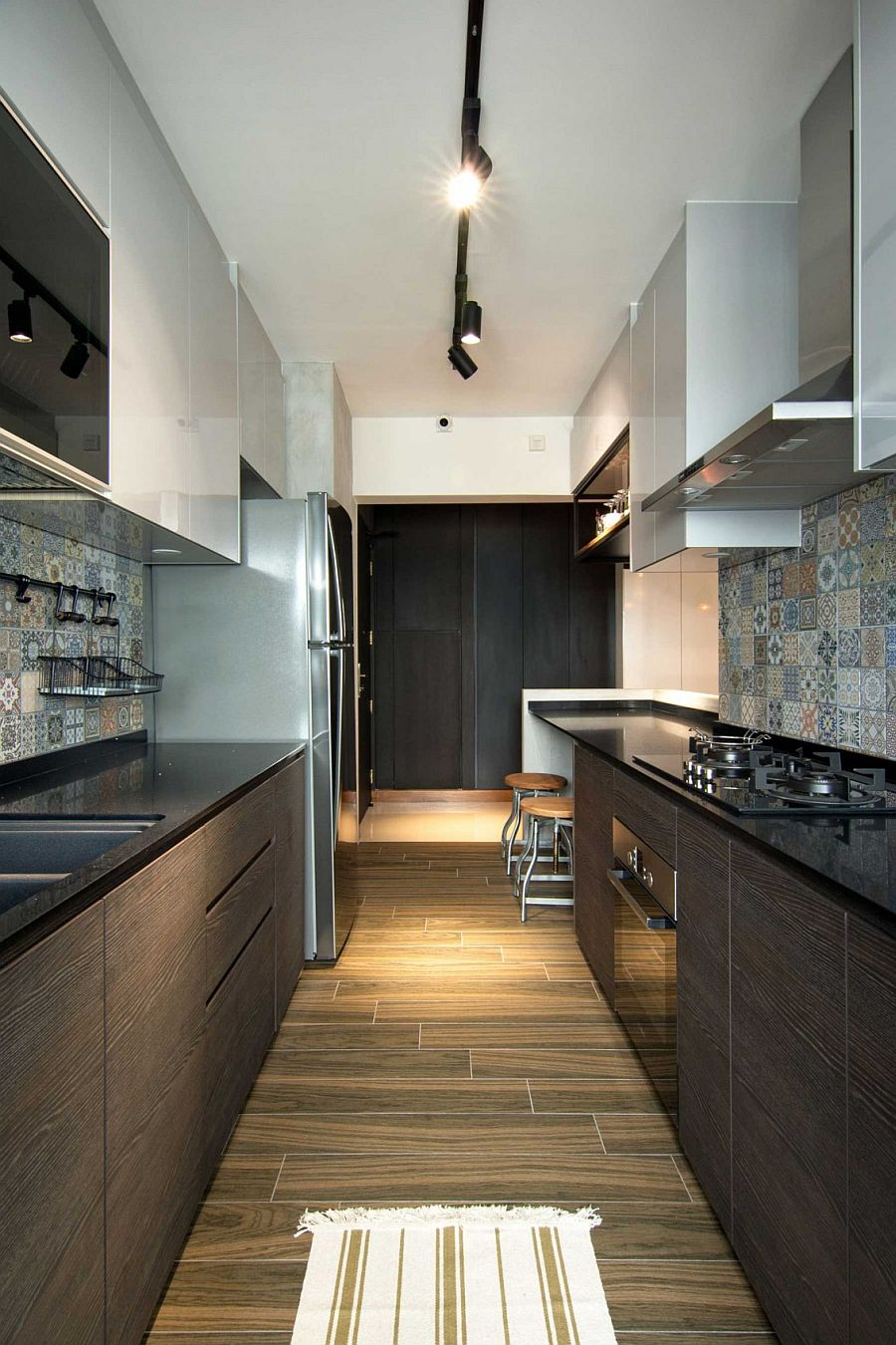 Small contemporary kitchen design inside stylish home in Singapore