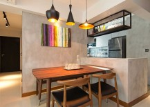 Small dining nook next to the kitchen with smart lighting
