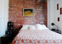 Small industrial bedroom with exposed brick wall