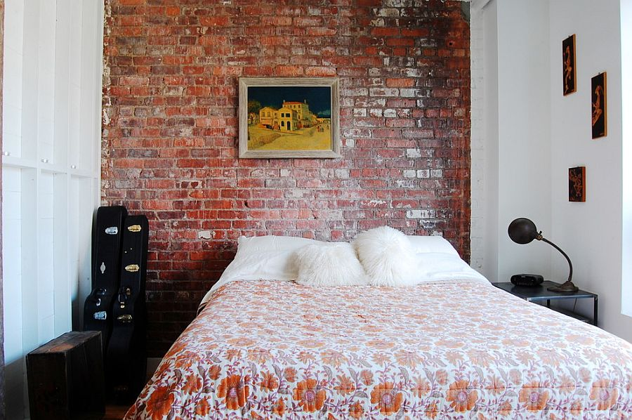 small industrial bedroom with exposed brick wall photography corynne pless - Exposed Brick Wall Bedroom Ideas