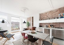 Small-kitchen-and-dining-area-with-exposed-brick-walls-217x155