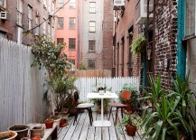 Small private balcony of Franklin St home in NYC
