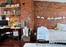 Small, shabby-chic style bedroom with exposed brick wall [Photo: Sara Bates / Embrace my Space]