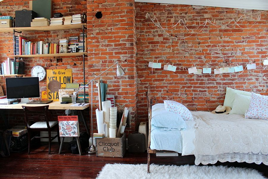 Small, Shabby-chic Style Bedroom With Exposed Brick Wall