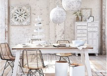 Smart decor choices can turn the dining room into a shabby chic haven even in contemporary homes