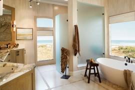Soaking bathtub and shower shape a fabulous, spa-styled bath