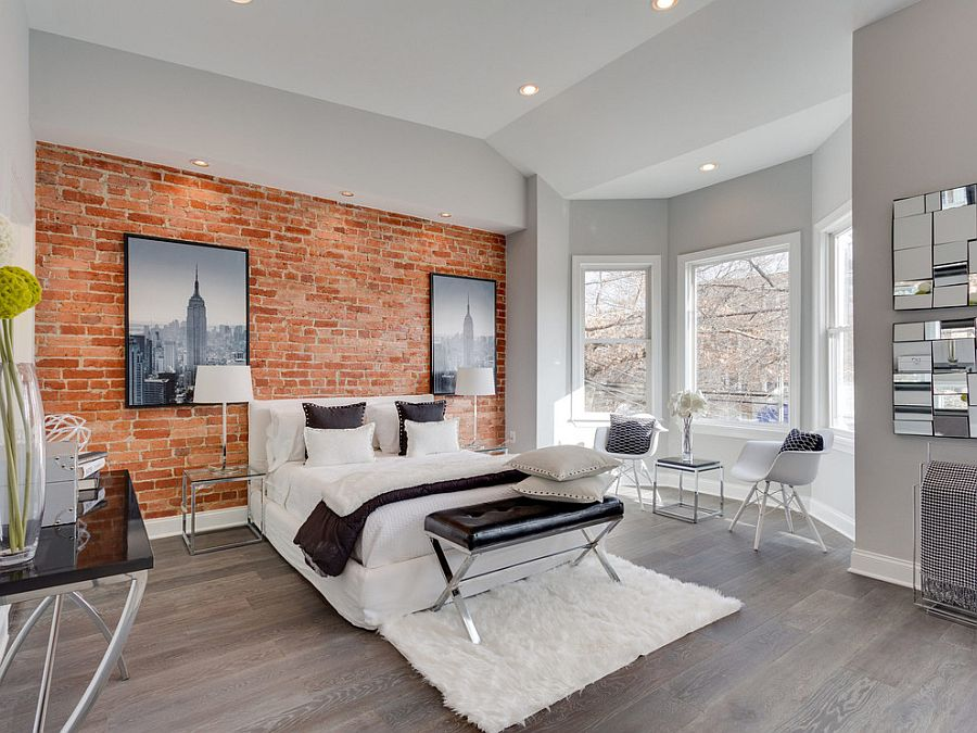 Sophisticated way to use exposed brick in your bedroom [Design: Porcelanosa USA]