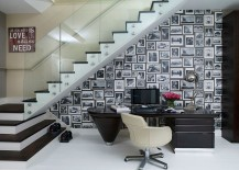 Space under the stairs turned into a captivating home workspace 217x155 30 Black and White Home Offices That Leave You Spellbound