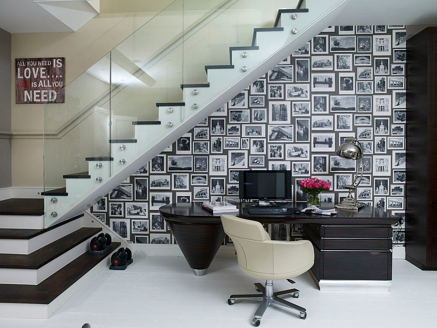 Space under the stairs turned into a captivating home workspace [Design: Henrietta Holroyd]