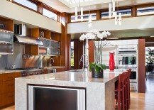 Spacious modern kitchen with a roof that gives it an airy appeal