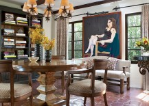 Spanish colonial dining room with sparkling terracotta tiles