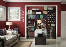 Sparkling contemporary home office with white trims and maroon walls 217x155 20 Home Offices That Turn to Red for Energy and Excitement