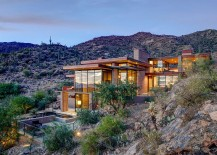 Sparkling contemporary mountain home that utilizes the nautural topography