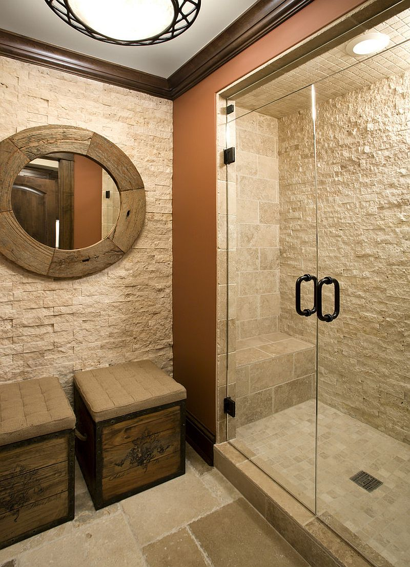 Split face stone in the shower for the elegant, traditional bathroom [Design: Stonewood]
