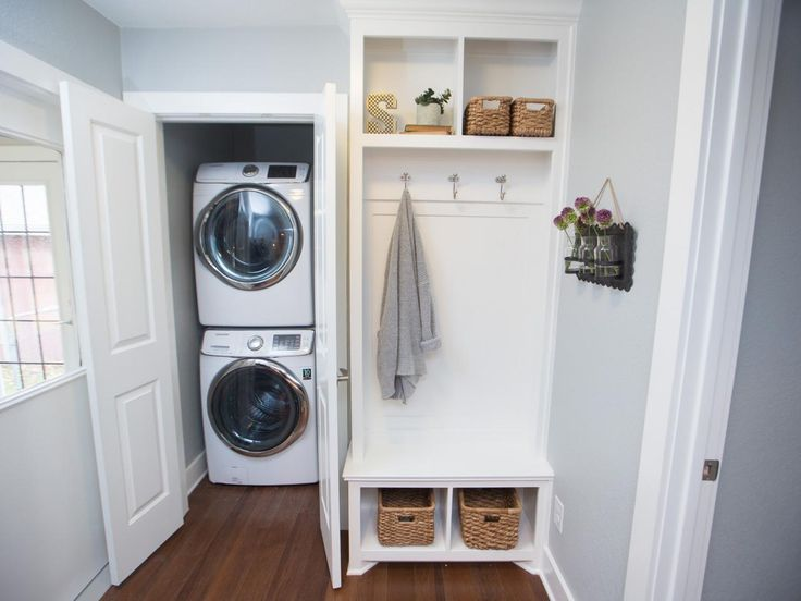 View In Gallery Stacked Washer And Dryer In Entryway Closet