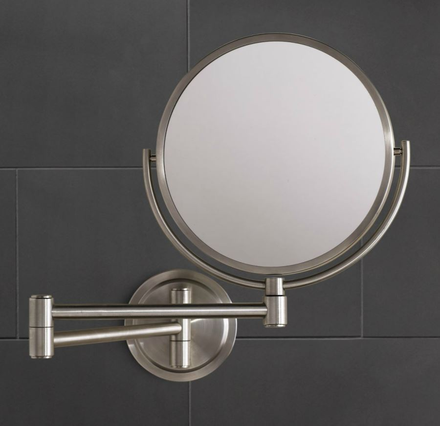 Stainless steel shaving mirror from Restoration Hardware