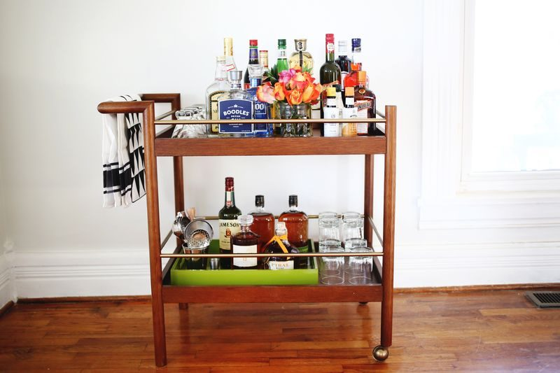 Stocked bar cart from A Beautiful Mess