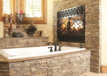 Stone fireplace and tub
