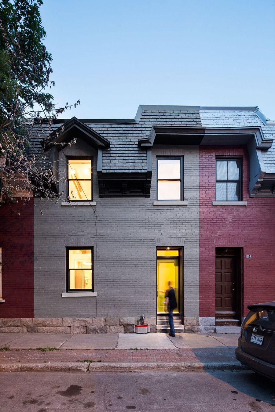 Street facade of the remodeled row house in Canada from the 1880s