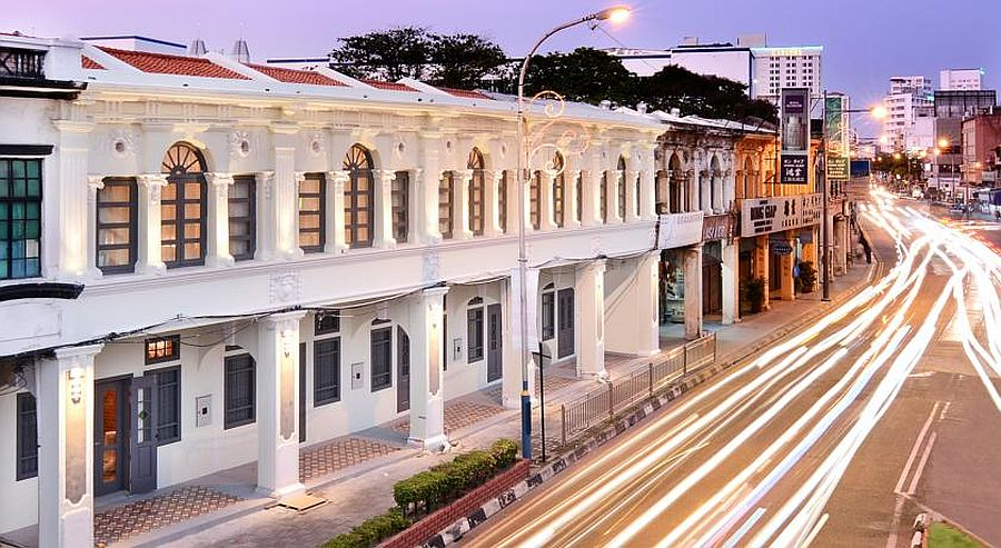 Street view of the iconic, historic hotel in Penang