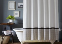 Striped and tasseled shower curtain from West Elm