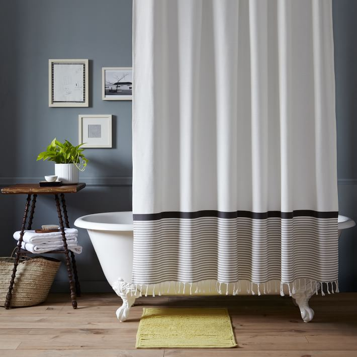 Grey White Striped Shower Curtain. View in gallery Striped and tasseled shower curtain from West Elm The Latest Shower Curtain Trends