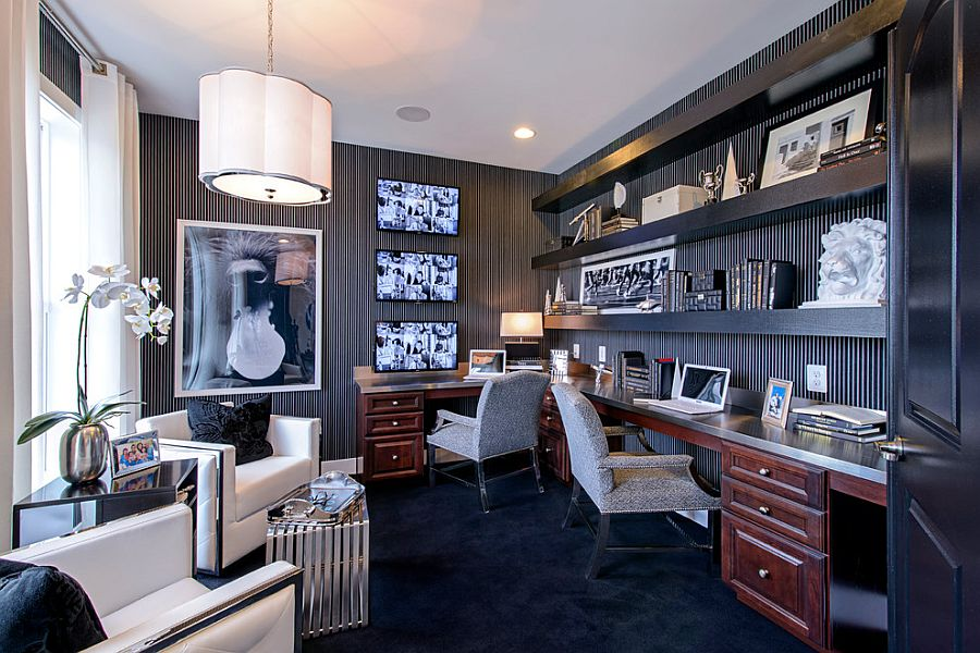 Striped wallpaper sets the mood in this glamorous home office [Design: M/I Homes]