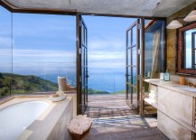 Stunning Tuscan style bathroom overlooks the mesmerizing Big Sur coastline 217x155 20 Luxurious Bathrooms with a Scenic View of the Ocean