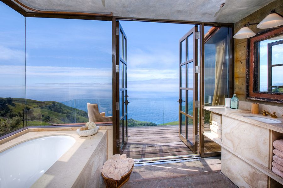 Stunning Tuscan style bathroom overlooks the mesmerizing Big Sur coastline [From: Decker Bullock Sotheby's International Realty]