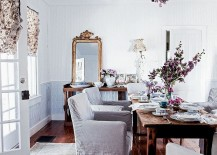 Subtle pops of color and flowery patterns are perfect for the shabby chic dining room with feminine vibe [Photography: Amy Neunsinger]