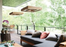 Suspended lighting enhances an outdoor deck