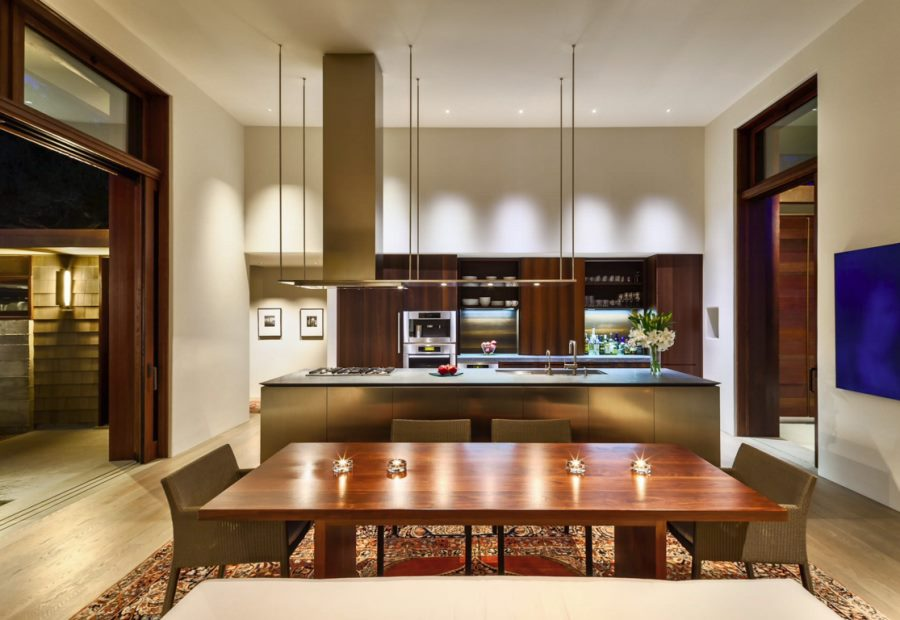 Suspended lighting in a modern kitchen