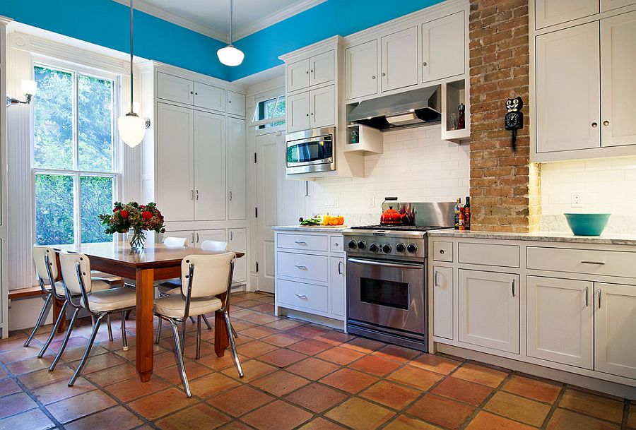 Terracotta tiles make their presence felt in the Victorian kitchen [Design: CG&S Design-Build]
