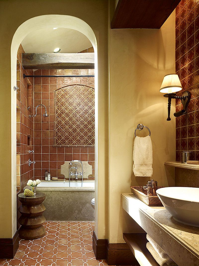 Terracotta tiles bring old world charm to the Mediterranean bathroom [Design: RJ Dailey Construction]