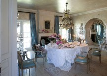 Texture of the walls enlivens the shabby chic dining room [From: Rachel Ashwell Shabby Chic Couture]